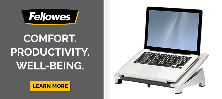 Fellowes -- Comfort. Producttivity. Well Being. -- Click to shop