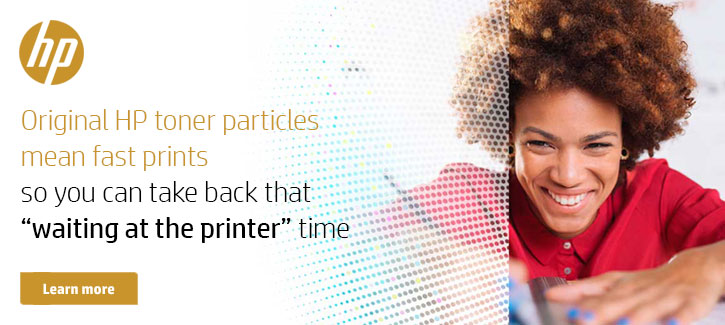Original HP toner particles mean fast prints so you can take back that waiting at the printer time - Click to Shop